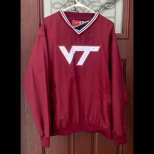 NWT Virginia Tech Mens V-Neck Wind Shirt Wine L